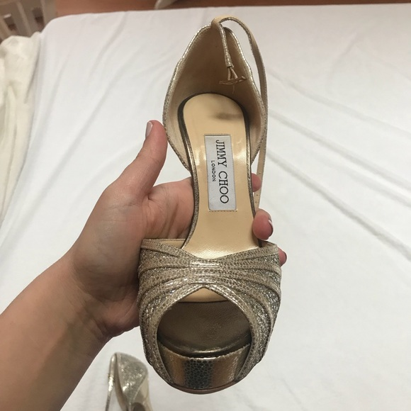 2511a0752c Jimmy Choo Shoes - Jimmy Choo Silver evening peep toe pumps